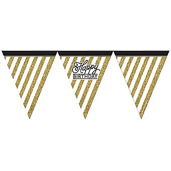 Creative Party Black And Gold Happy Birthday Paper Flag Bunting