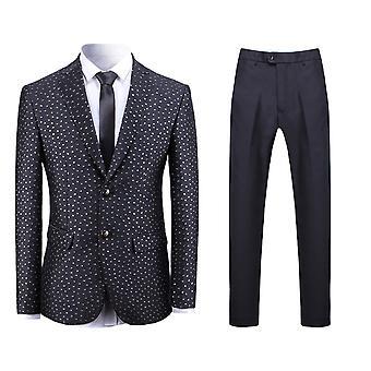 Allthemen Men's 2-Piece Suits Dot Jacquard Dance Banquet Casual Suit Jacket&Pants