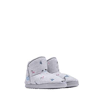 Joules Cabin Womens Bootie Slipper With Hard Sole - Grey All Over Dogs