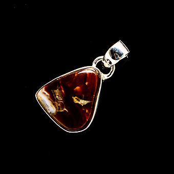 Mexican Fire Agate 925 Sterling Silver Pendant 1 1/8