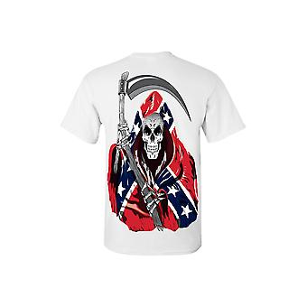 Men's Camiseta Confederada Bandera Rebelde Grim Seaper Camiseta de Manga Corta - Logotipo en la espalda