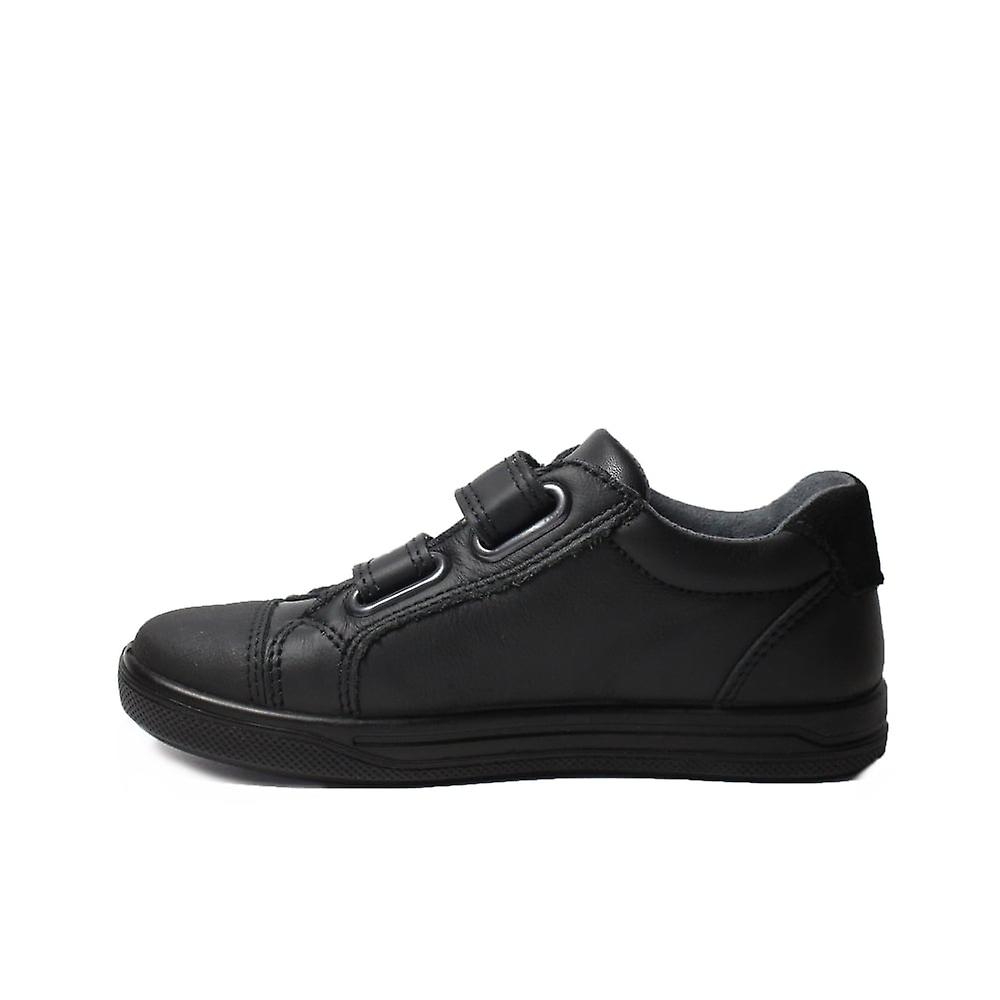 Ricosta Jason Black Leather Boys Rip Tape Trainer Chaussures D'école