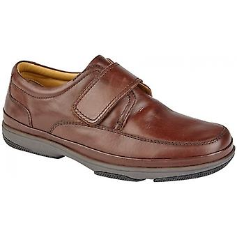 Roamers Wallace Mens Burnished Leather Wide Fit Casual Shoes Brown