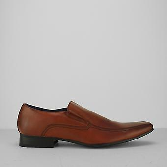 Route 21 Brett Mens Leather Lined Tramline Chisel Toe Shoes Tan