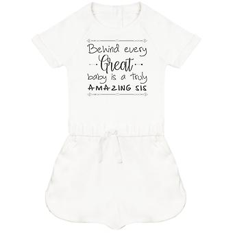 Behind Every Great Baby Is A Truly Amazing Sis Baby Playsuit