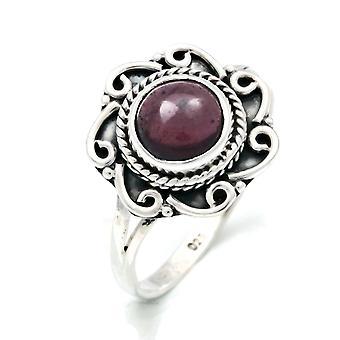 Ring Silver 925 Sterling Silver Garnet Red Stone (No: MRI 121)