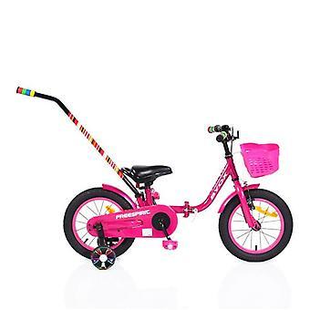 Vélo pour enfants 14 Freespirit rose, pliable, roues de soutien, canne à pousser, panier avant