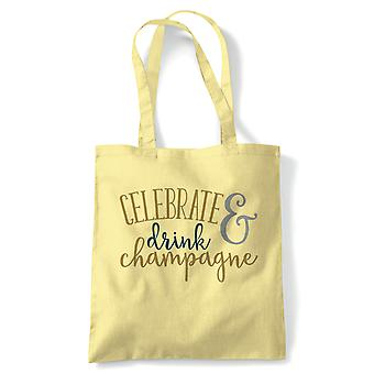 Celebrate & Drink Champagne Tote | Happy Birthday Celebration Party Getting Older | Reusable Shopping Cotton Canvas Long Handled Natural Shopper Eco-Friendly Fashion