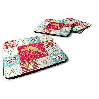 Set of 4 Belgian Hunchback Canary Love Foam Coasters Set of 4