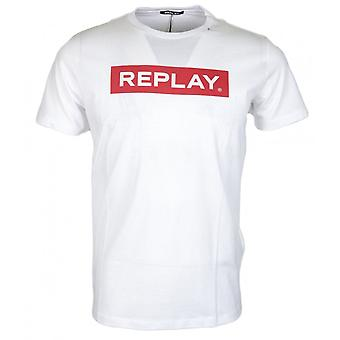 Replay Round Neck Printed Logo White T-shirt