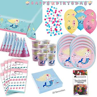 Mermaid party box party 62-teilig Deco Mermaid for 8 guests party package
