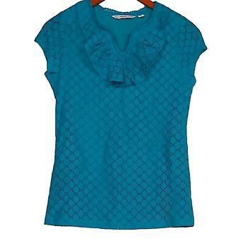 Isaac Mizrah Live! Women's Top (XXS) Knit Lace W/ Ruffle Blue A254788
