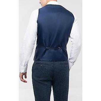 Scottish Harris Tweed Mens Blue & Black Herringbone Tweed Waistcoat Regular Fit 100% Wool Double Breasted