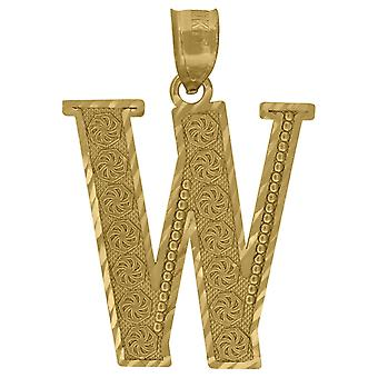 10k Gold Dc Mens Letter W Height 31.4mm X Width 25.2mm Initial Charm Pendant Necklace Jewelry Gifts for Men
