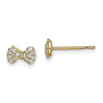 14k Madi K CZ Cubic Zirkonia Simuloitu Diamond Bow Post korvakorut korut lahjat naisille