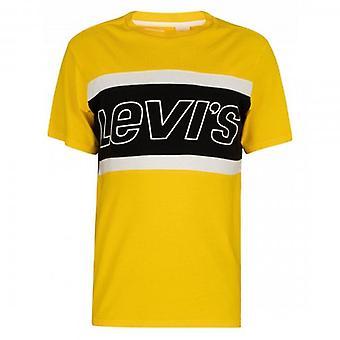 Levi-apos;s Colour Block Logo Crew Neck Jersey Maillot T-Shirt Jaune 79594 0002