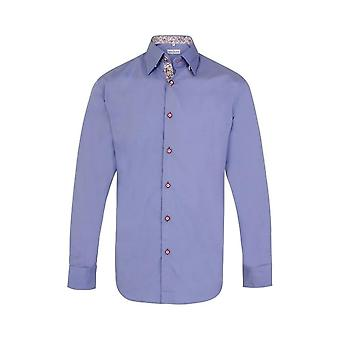 JSS Plain Blue Regular Fit Shirt With Red & White Paisley Trim