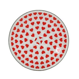 Aroma Red Heart Candle Plate