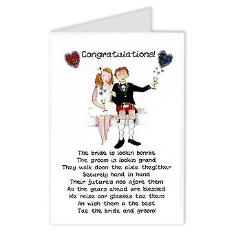 Embroidered Originals Congratulations Bride & Groom Scottish Wedding Card