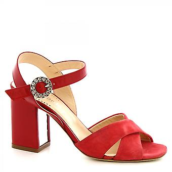 Leonardo Shoes Women's handmade high heels sandals red suede leather buckle