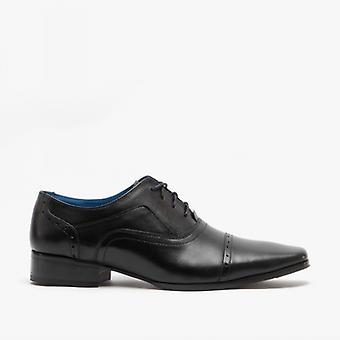 Roamers Jonty Mens Couro Tampado Oxford Shoes Black