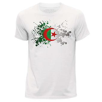 STUFF4 Herren Runde Hals T-Shirt/Algerien/algerische Flagge Splat/weiß
