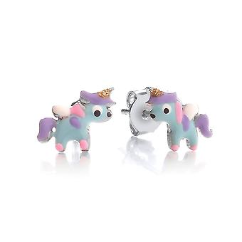 David Deyong Children's Sterling Silver Blue Enamel Unicorn Stud Earrings