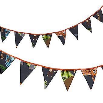 Bannière de drapeaux de bunting de tissu de lit régulier de prêt Imprimé Polycotton Party et Décoration de chambre à coucher pour les enfants (fr) Birthday Bunting for Girls or Boys (fr) 3 mètres (Africa Design)