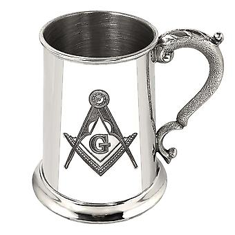 Masonic G Pewter Tankard - 1 Pint
