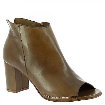 Leonardo Sko Kvinner's håndlagde hæler åpne tå ankelstøvler brun kalv skinn