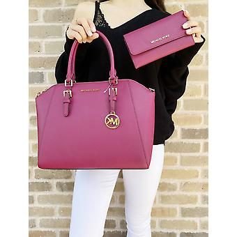 Michael kors ciara large top zip satchel saffiano magenta pink + trifold wallet