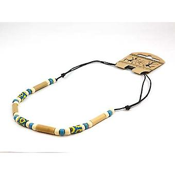 TOC Fimo & Bamboo Beads Necklace on Adjustable Black Cord FJ285