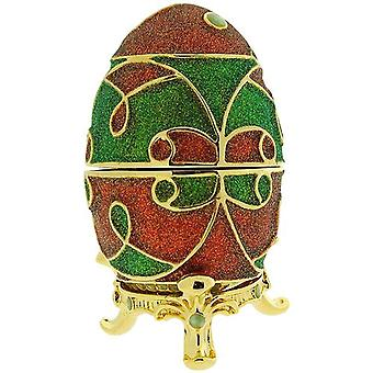 WC Red & Green Faberge-Style Egg Trinket Jewellery Box E4