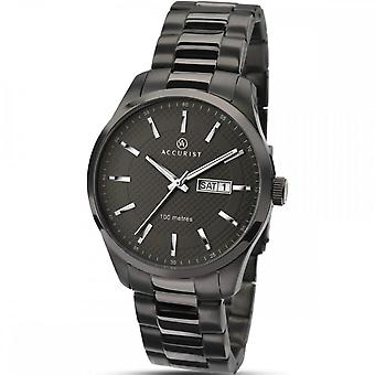 Accurist Mens Round Charcoal Dial Black Bracelet Watch 7058