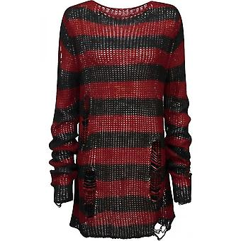Attitude Clothing Oversized Distressed Stripe Knit Sweater Red