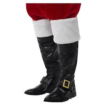 Capas de bota de Papai Noel preto de luxo com tops de pele vestido de fantasia de Natal
