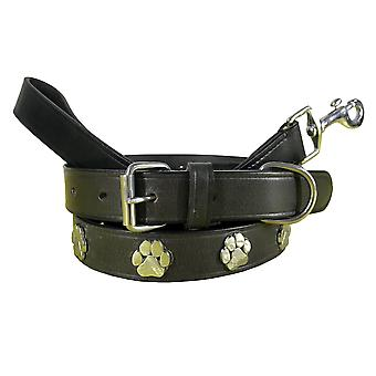 Bradley crompton genuine leather matching pair dog collar and lead set bcdc8black