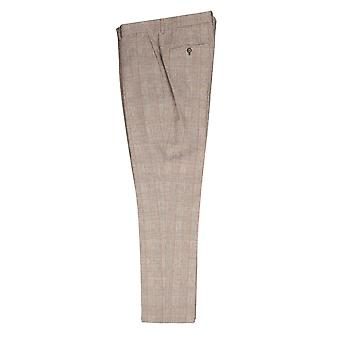 Taupe With Orange Check Glen Plaid Suit Trousers