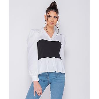 Corset Detail Puffed Blouse - Women - Black /White