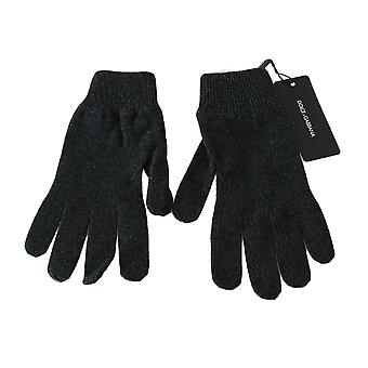 Dolce & Gabbana Gray Black 100% Wool Knitted Logo Wrist Gloves -- LB25253104