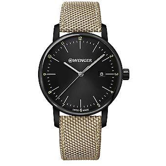 Wenger Urban Classic Quartz Black Dial Beige Nylon Strap Men's Watch 01.1741.138