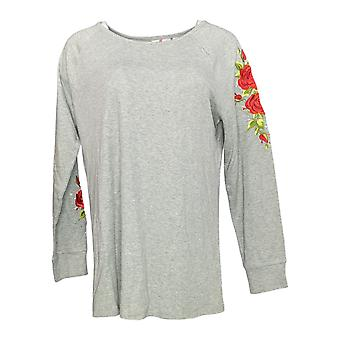 Quacker Factory Women's Floral Embroidered Raglan Slv Knit Top Gray A341761