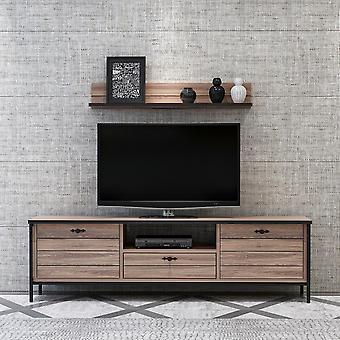 Mobile TV Tür Spitze Farbe schwarz, Holz in Melaminic Chip, Metall 150x35x44 cm, selbst:15x15x90 cm