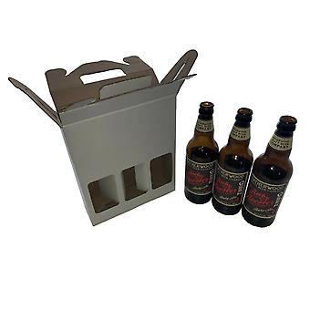 215mm x 70mm x  260mm | White 3 x Beer Ale Cider Bottle Presentation Gift Box | 25 Pack