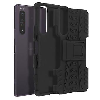 Protective Case for Sony Xperia 1 2 Bi-material Shockproof Support Strap Black