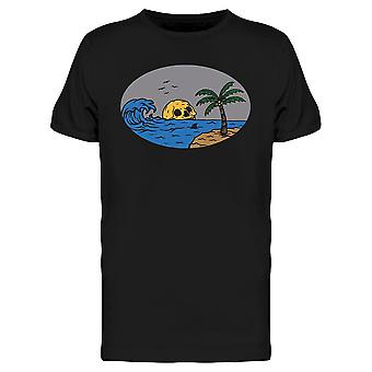 Skull And Palm Tree On The Beach Tee Men's -Image by Shutterstock
