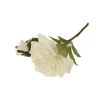 36cm Ivory Rosa Eden Short Artificial Fabric Flower Stem