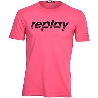 Replay Retro Filt Logo T-skjorte, Fuksia/Coral