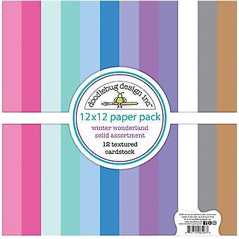 Doodlebug Design Winter Wonderland 12x12 Inch Textured Cardstock Assortiment Pack