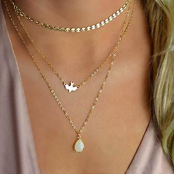 Gold Triple Layered Necklace with Opaque Pendant